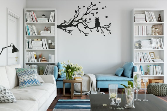 917aa8373fc Cat in a Tree Branch Wall Decal Sticker Cat Curious Cat