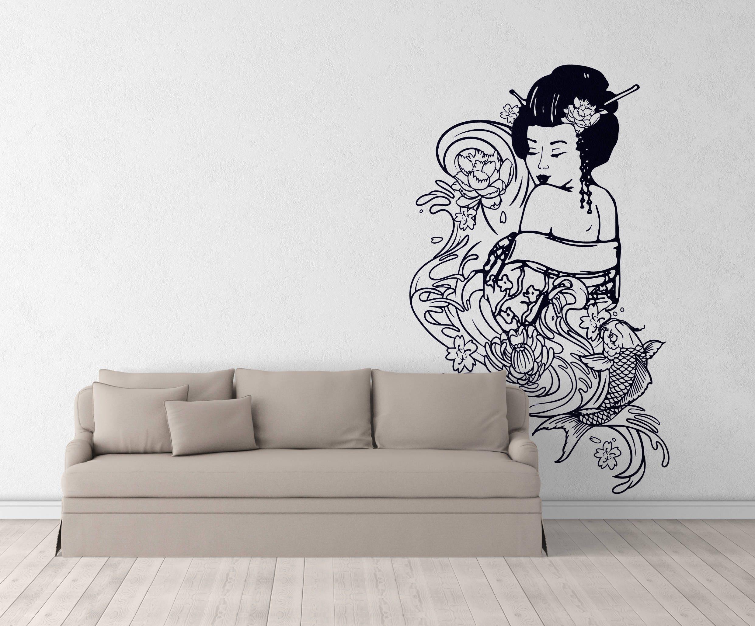 Japanese geisha woman with carp koi geisha woman in feudal japan interior vinyl decal sticker for wall decor samurai courage
