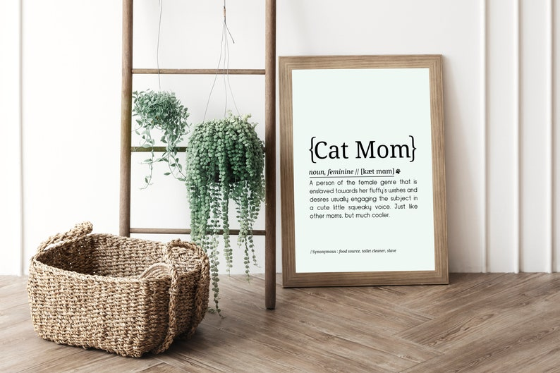Cat Mom Definition // Printable Typography // High Resolution image 0