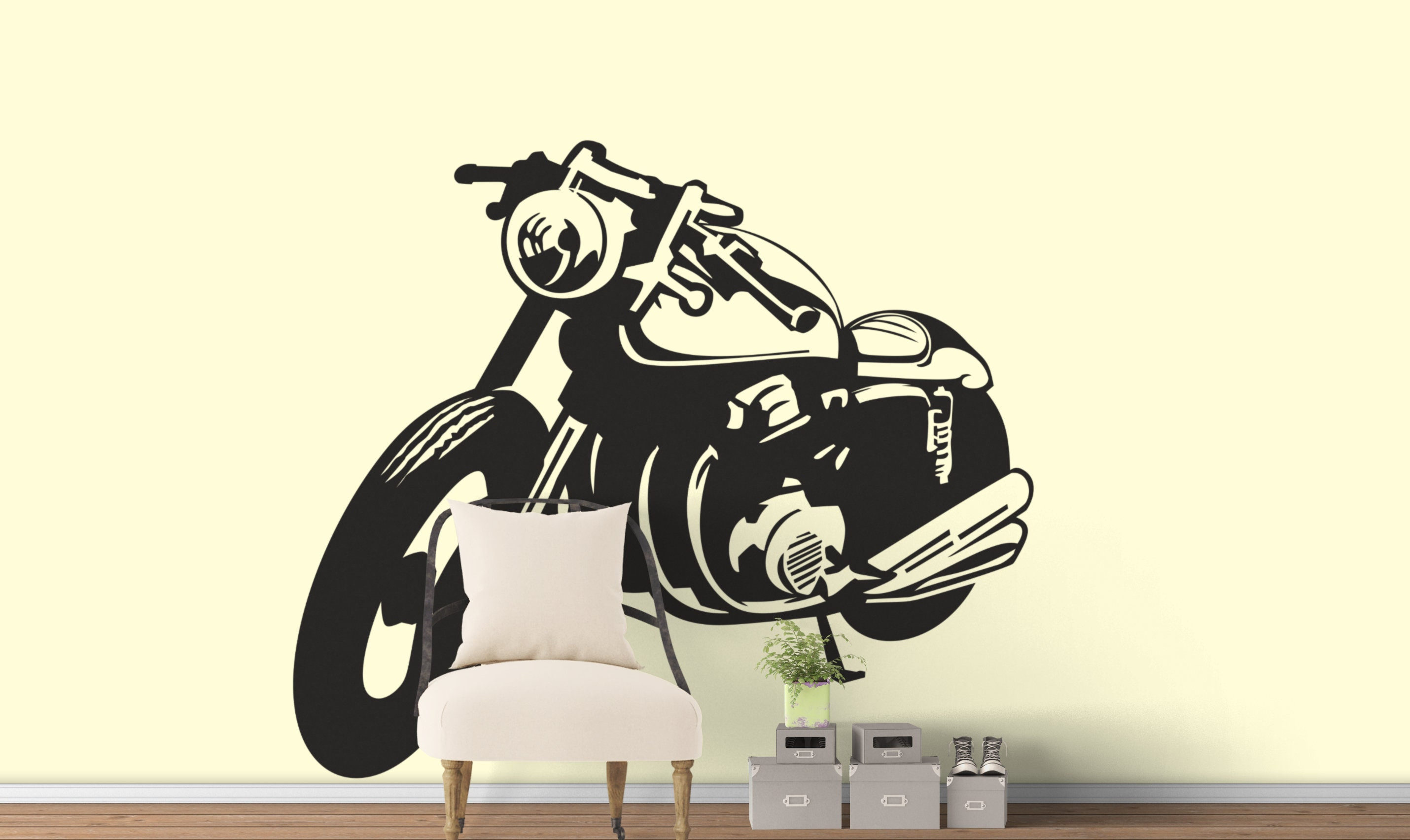 Classic motorcycle silhouette café racer die cut vinyl sticker decal wall decal motorsports bikers motoclub riders cafe racing