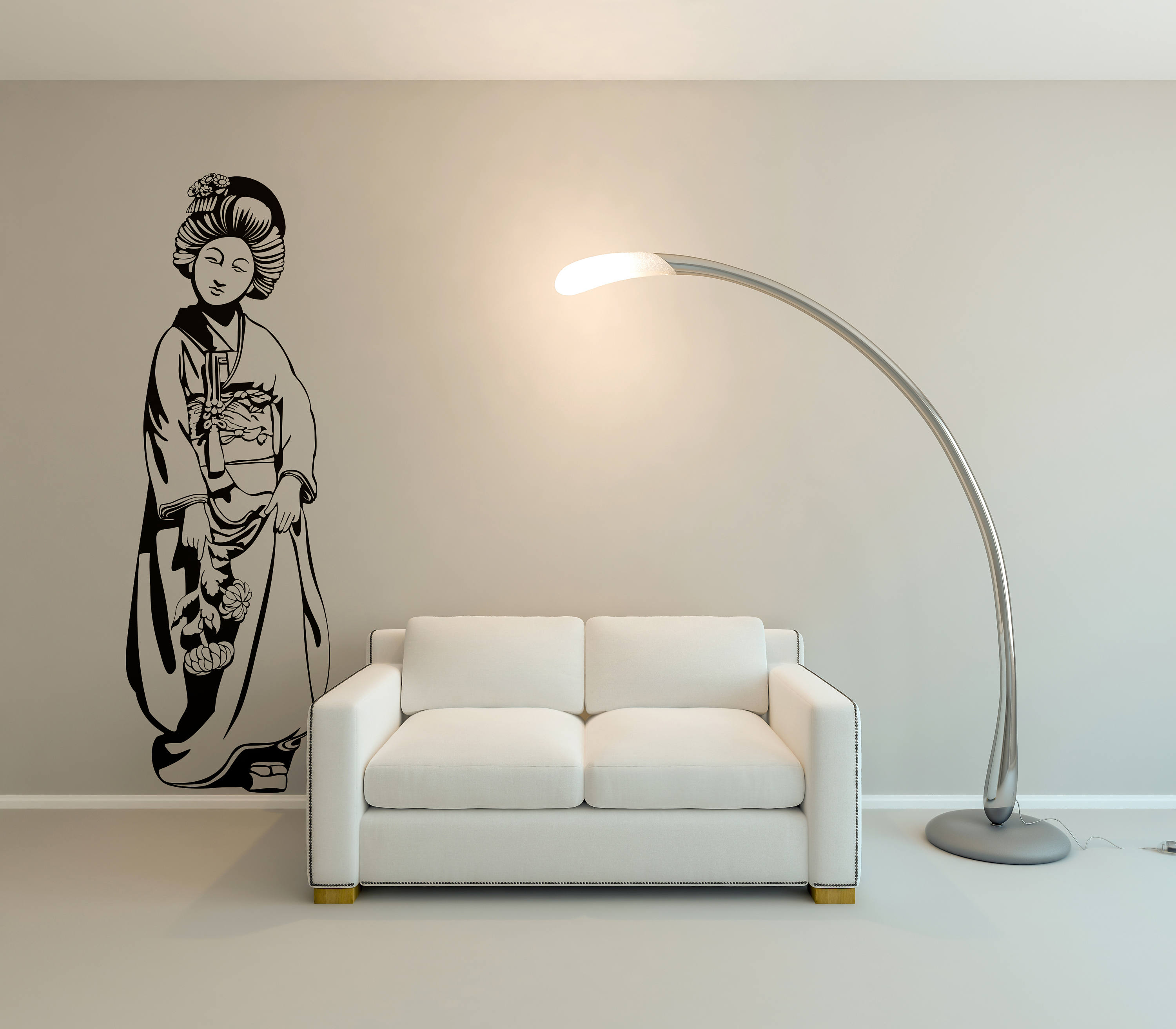 Traditional geisha woman with flowers in her hand geisha woman in feudal japan interior vinyl decal sticker for wall decor samurai