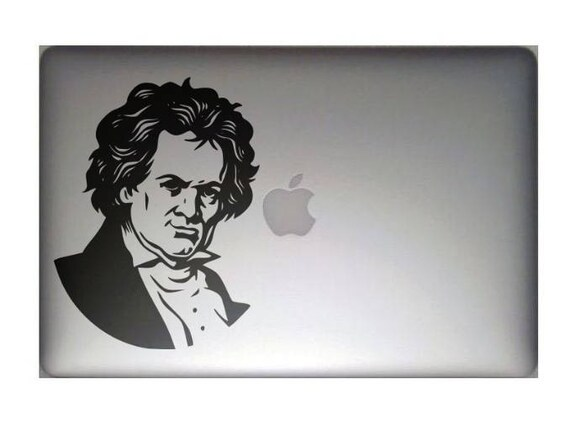 Ludwig van Beethoven with grin smile and blinking eyeDecal Sticker, Funny laptop decal, Music, mac, Macbook Decal Sticker