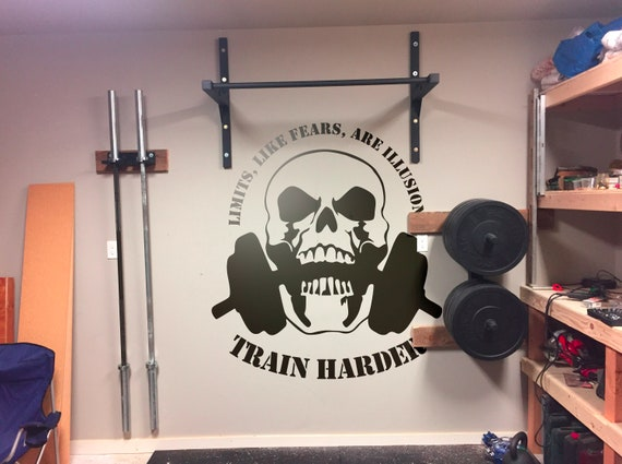 Limits like fears are illusions.. Train Harder - Vinyl Decal for Gyms, Sports, Trainers, Training Rooms, Motivational Decals, Skull, Weights
