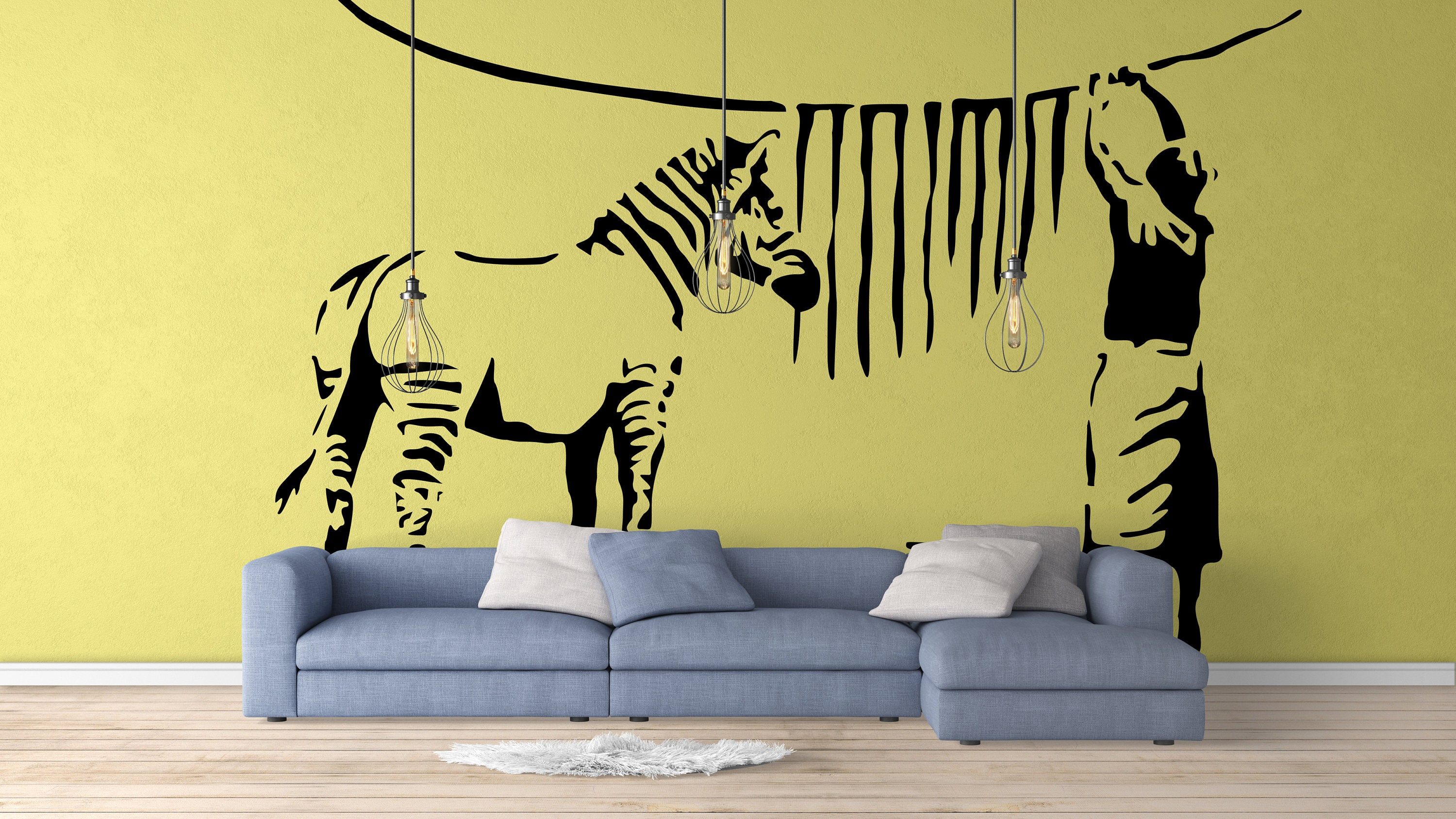 Banksy Zebra Stripe Washing Lady Wall Decal Sticker, Street art ...