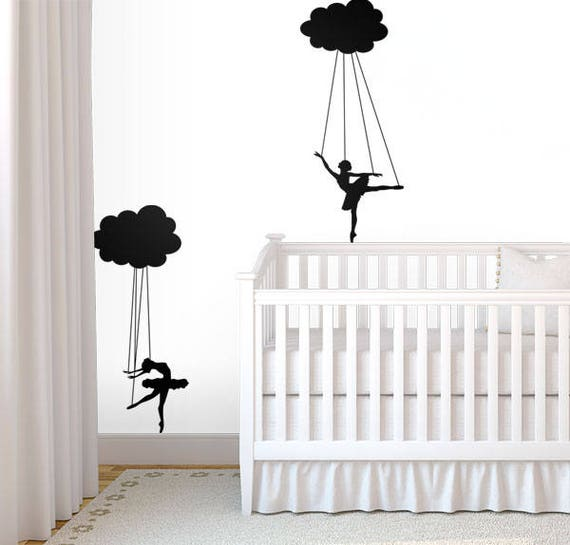 Cloud Puppet Ballerinas Decal - Decals for Home Decor, Dancer Marionette Doll, Nursery Nurseries Kids Rooms Youngs Children Child