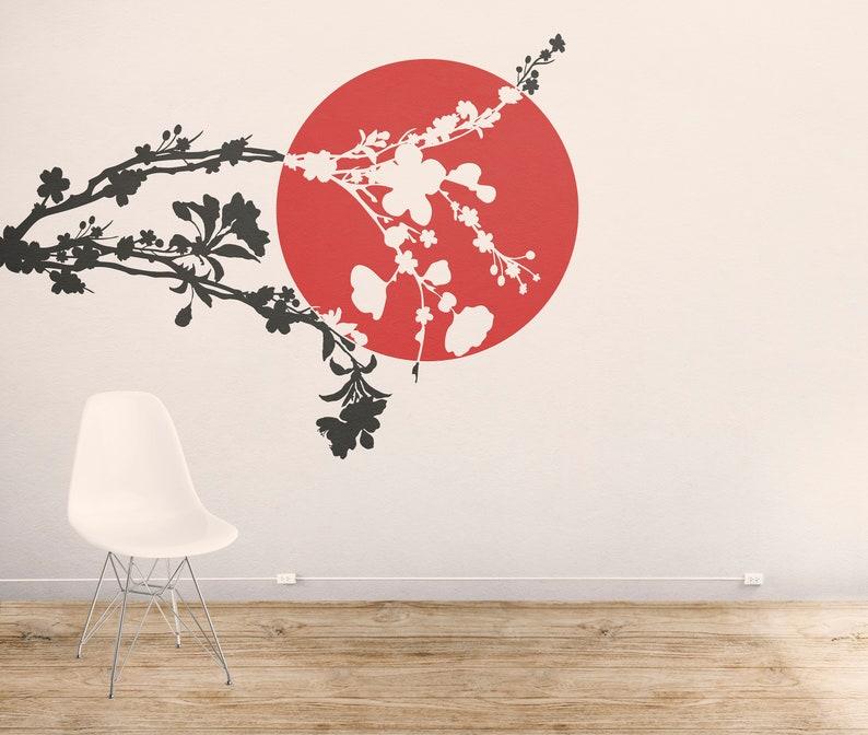 SVG  Japanese Cherry Blossom Tree Branch // eps pdf psd dxf image 0