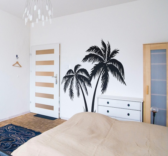 Palm Trees Silhouettes, Summer Wall Decal, Surfer Surfing Wave Ocean Water Swim Wave Hang Loose Beach Paradise Good Vibes