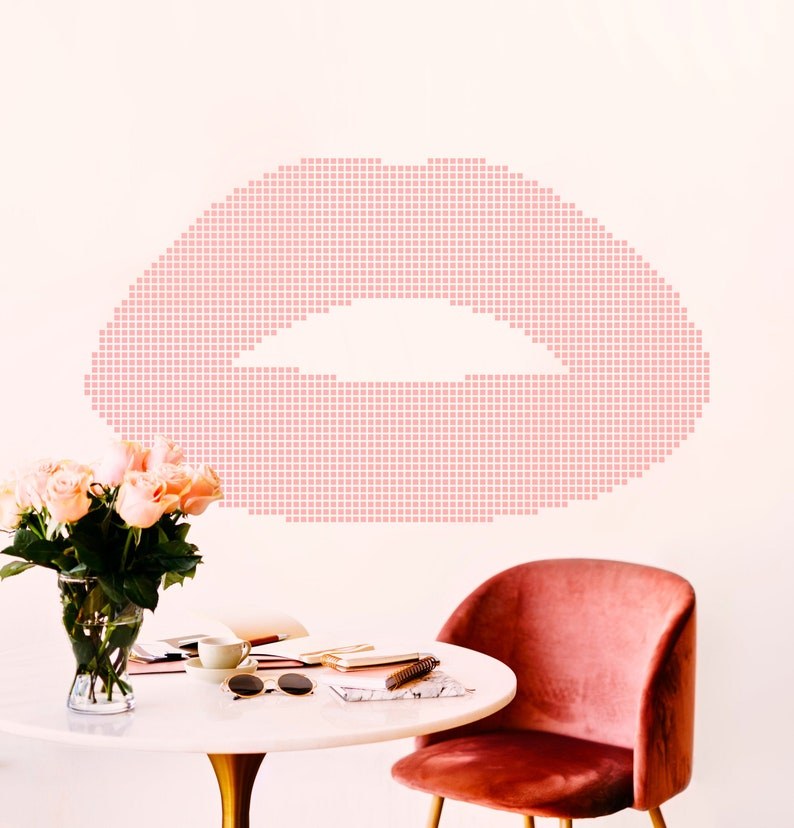 SVG  Pixelated Style Lips // Wall Art Series // Vector // image 0