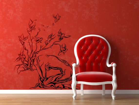 Tree Woman with Birds Wall Decal Sticker, Magical Minds Collection, Inspiring designs for home decor, Women Bird Silhouette