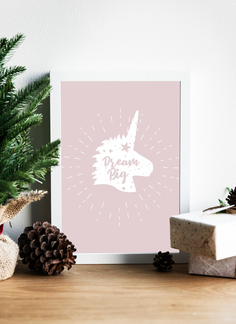 SVG  Dream Big // Adorable Unicorn Typography // Universally image 0