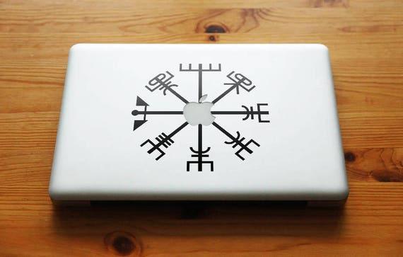 Vegvisir the Viking Compass Apple Decal Sticker, Viking Bjork Aegishjalmur, mac, Macbook Decal Sticker