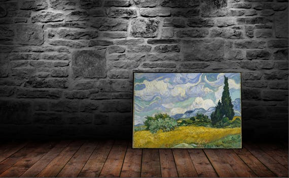 Wheat Field with Cypresses - High Quality print made with Gloss Photo Paper - Vincent van Gogh - 1889