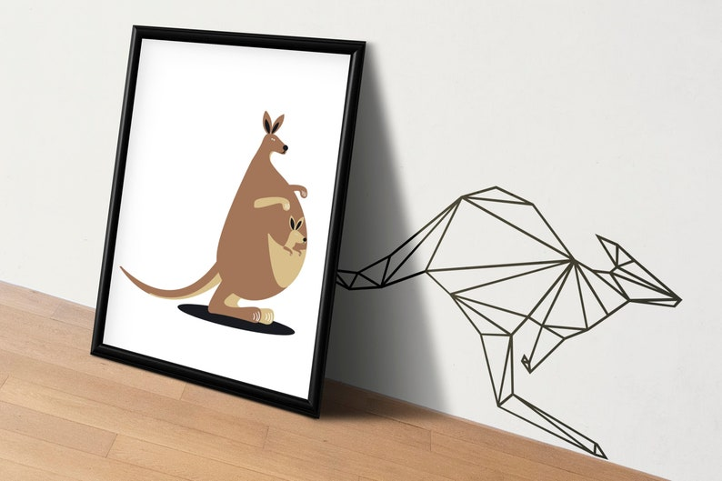 SVG  Low Polygon Kangaroo // LowPoly Designs // Vector // image 0