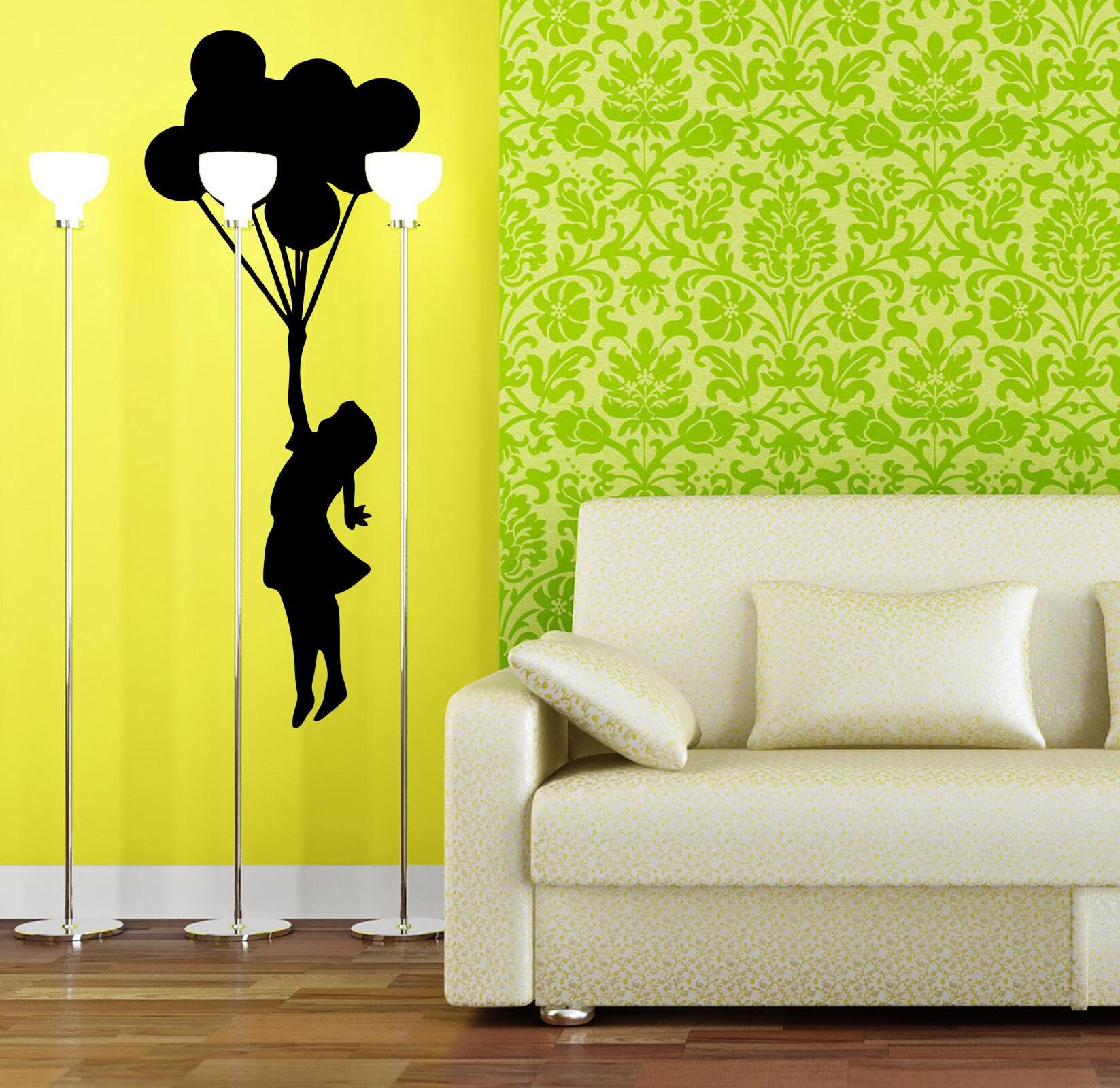 Banksy Silhouette, Girl flying to dream land using balloons, Vinyl ...