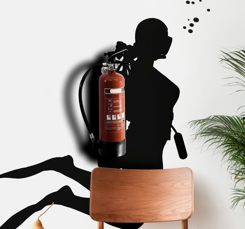 SVG  Scuba Diver // Fire Extinguisher Disguise No 2 // Vector image 0