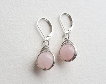 Handmade Porcelain Earrings Sterling Silver Wire Wrapped Earrings Beaded Rose Quartz Earrings Pink Floral Earrings Flower Earrings