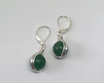 Rocks, Fossils & Minerals Silver Plated Natural Green Aventurine Malachite Lever Back Dangle Earrings L2 Collectibles