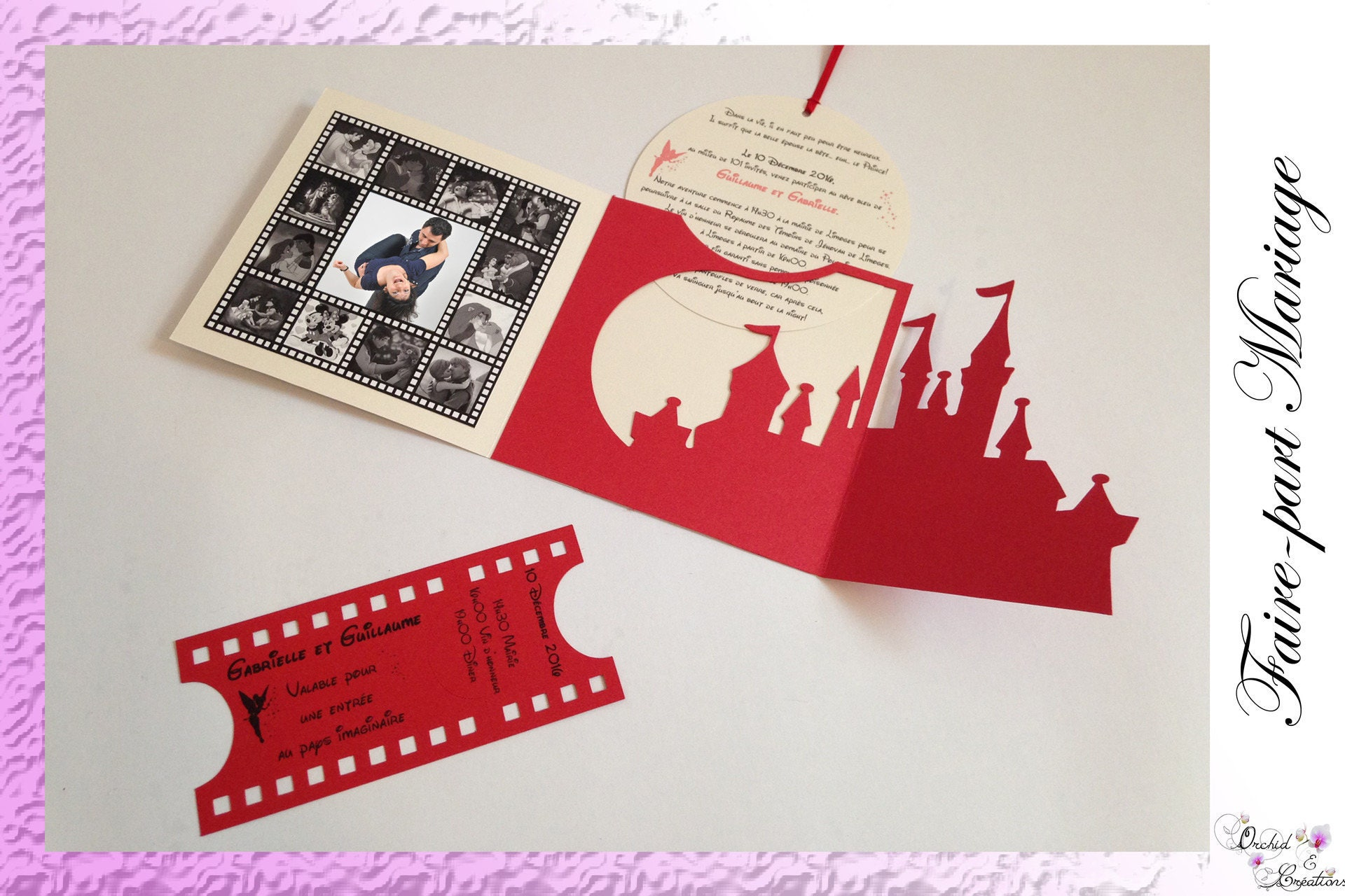Castle princesses cinema ticket wedding invitation