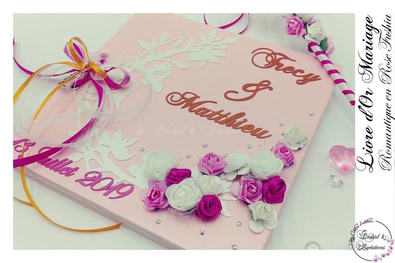 Livre D Or Mariage Vintage Fleuri Romantique Fleur Rose Elegant Creations Fait Main Personnalisation Sur Mesure