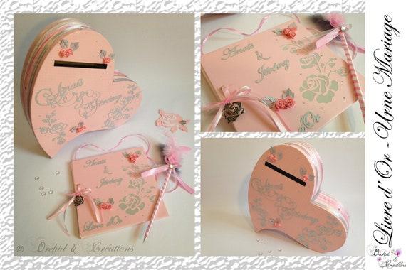 Urne Mariage Forme Cœur Theme Romantique Et Fleur La Vie En Rose