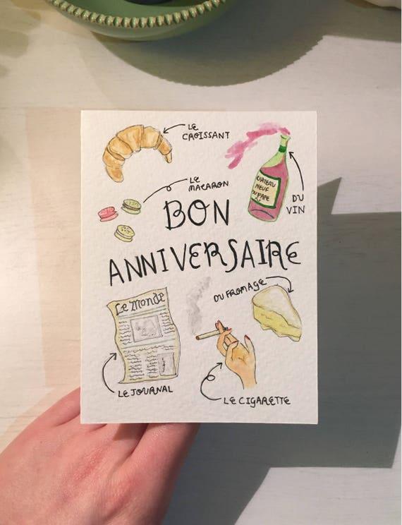 Carte De Bon Anniversaire Joyeux Anniversaire Francais Etsy