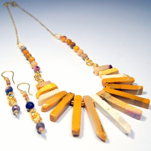 Mookite Necklace and Earring Set Tribal Mookite Set Statement Necklace and earring Set