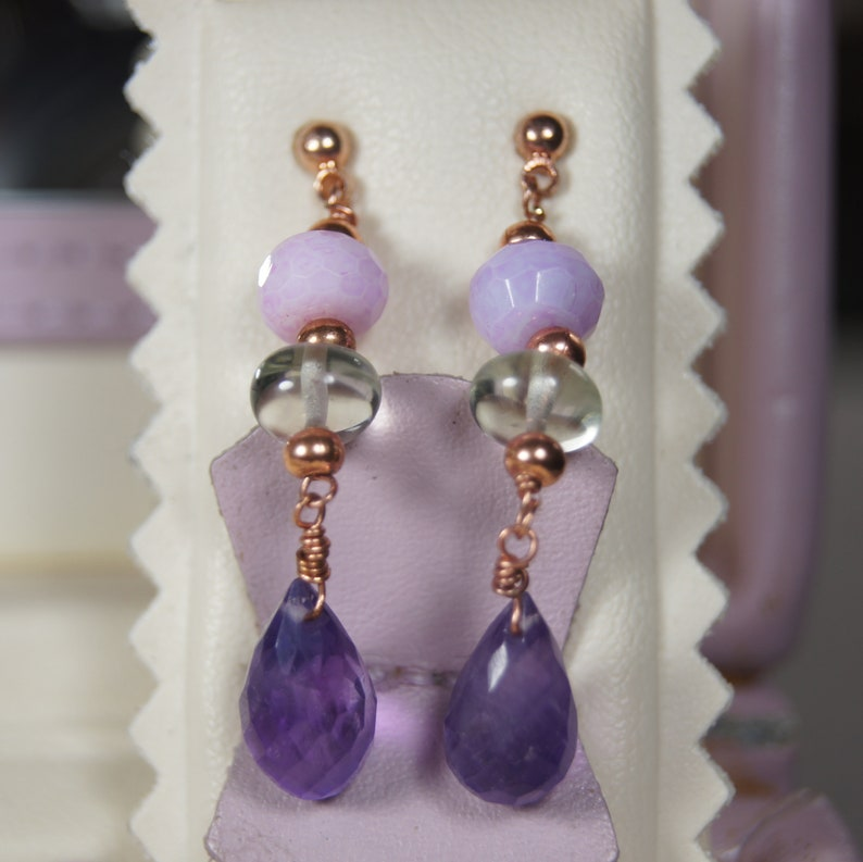 Boho Opal Jewelry Lavender Opal Pastel gemstone Jewelry Amethyst and Green Amethyst Rose Gold Jewellery Set Artisan Prasiolite