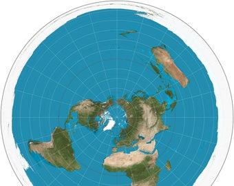 Circular Map of the World Map - Flat Earth