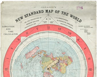 Flat earth map etsy gleason new standard map of the world map flat earth gumiabroncs Images