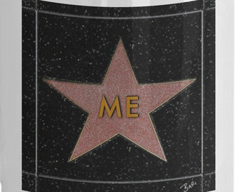 funny gift hollywood movie lover walk of fame star with me on the star coffee tea mug by artist bari gilbert