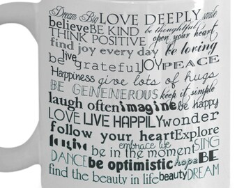 Give a Positive Words Gift Coffee Tea Lovers Mug 11 or 15 oz for a Perfectly Positive Present for Birthday, Holiday, Occasions, by Blue