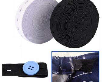 Prym Knitted Buttonhole Elastic Black Sold Per Metre