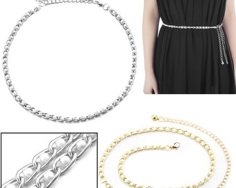 Gowns Western Dresses 11mm Wide Women/'s Thin Gold Waist Chain Charm Belt For Fashion Accessories