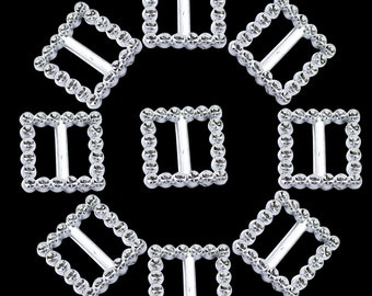 16pcs Heart Shape Rhinestone Buckle Ribbon Slider for Wedding Favors 17mm