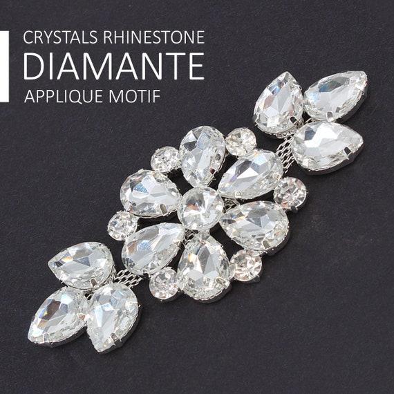 Diamantes de imitación Plata Diamante Nupcial Boda Apliques De Cristal Motivo Coser Parche