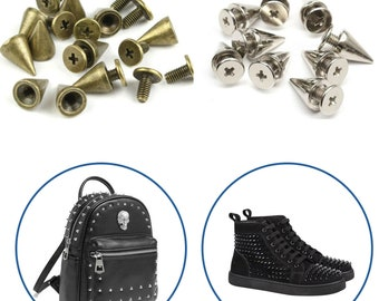 7mm x 13mm Brass Cone Shape Screw back Spikes Studs Punk Style for Decorating Leathercraft, Goth Clothing, Fashion Accessories 50pcs