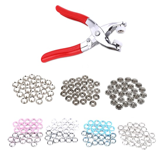 100 x 9.5mm Snap Poppers Press Studs Prong Ring Button Brass Fasteners 4 Colours