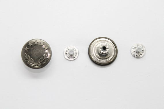 17mm Dark Bronzes Jean Studs Buttons with Pins Mens Fly Denim Brass /& Tool 10pcs
