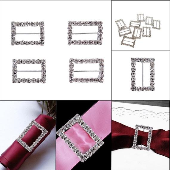100 Acrylic Rectangled Buckle Invitation Ribbon Slider For Wedding Supplies