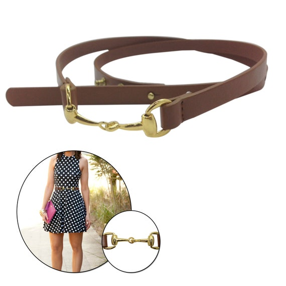 Women Brown Leather Waist Belt with Stylish Gold Hook Clasp 13mm Formal /& Western Outfits Fully Adjustable Fashion Accessory for Casual