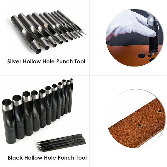 5 piezas Herramienta de perforaci/ón de agujeros huecos perforadora hueca para cintur/ón herramientas de mano para cuero goma o trabajos en cuero