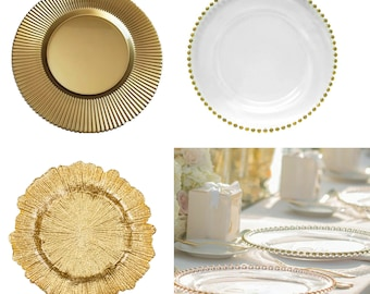 Round Glass Charger Plate | Available in 3 Design | Centrepiece | Wedding | Tableware | Dinner Placemats