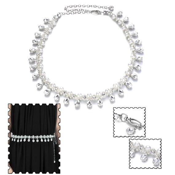 Damen Mädchen Mode Accessoires Strass Perlen Metallkette Hüftgurt