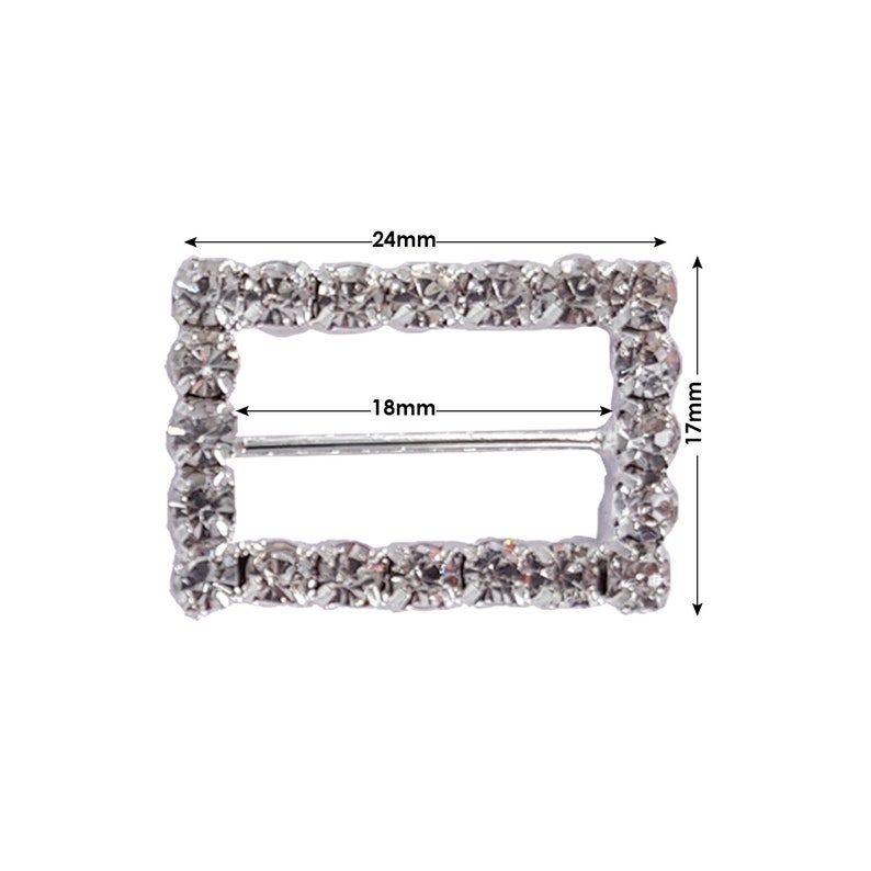 18mm x 17mm Fashion Accessories Slider Rectangle Diamante Buckle Rhinestone Crystal Metal Fasteners Chair Band decorations Wedding