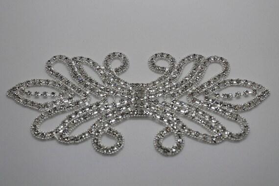 Rhinestone Diamante Silver Bridal Wedding Sew On Motif Crystal Applique Patch