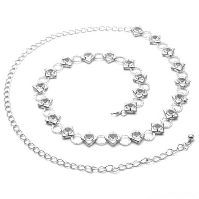 8911473c Plata correas de cintura señoras de las muchachas Diamante Diamante partido  de la manera del desgaste de accesorios encanto de la 278