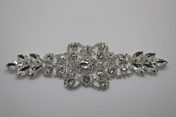 Rhinestone Diamante Applique Silver Motif Sew On For Wedding Bridals Patch Dress