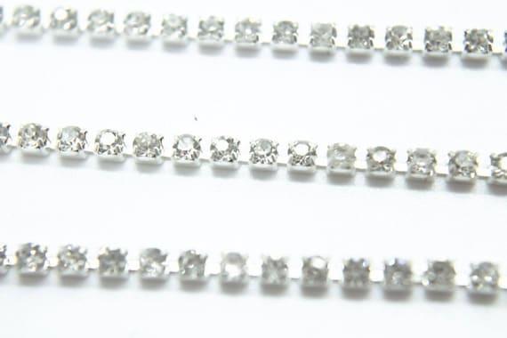 1 Metre Quality Clear Crystal Rhinestone Rope Trim Chain 2.5mm 3.25mm /& 4mm