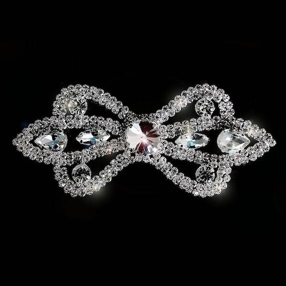 Plata Rhinestone Diamante//Diamante Motif Coser En Apliques De Cristal De Boda 89