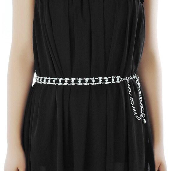 Ladies Girls Gold Waist Belt Diamante Chain Adjustable Fashion Rhinestone 284